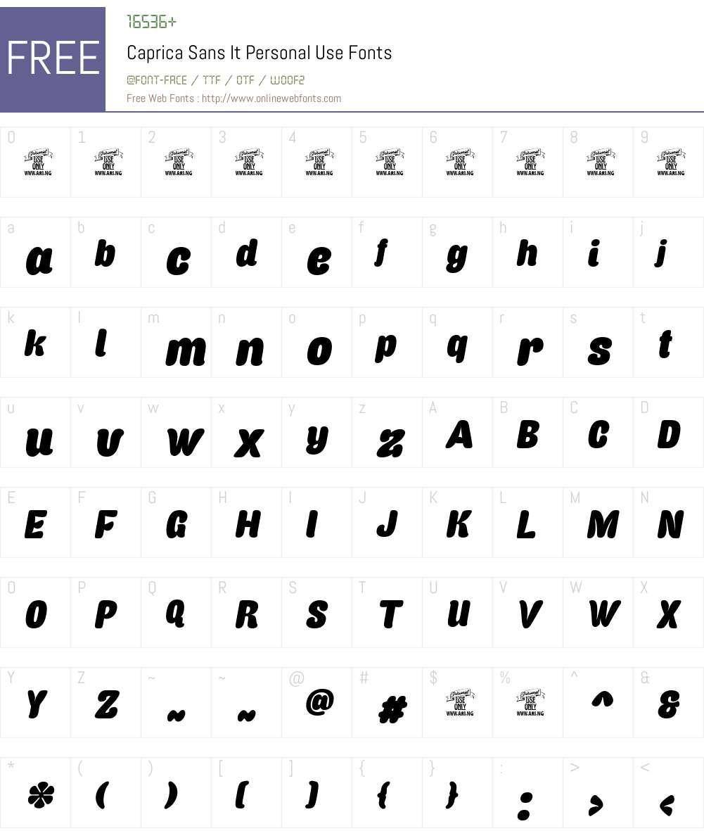Caprica Sans It Personal Use Font Screenshots