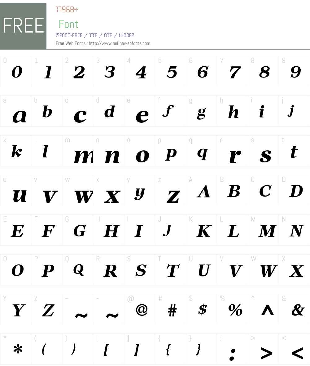 NewPrairieW00-BoldItalic Font Screenshots