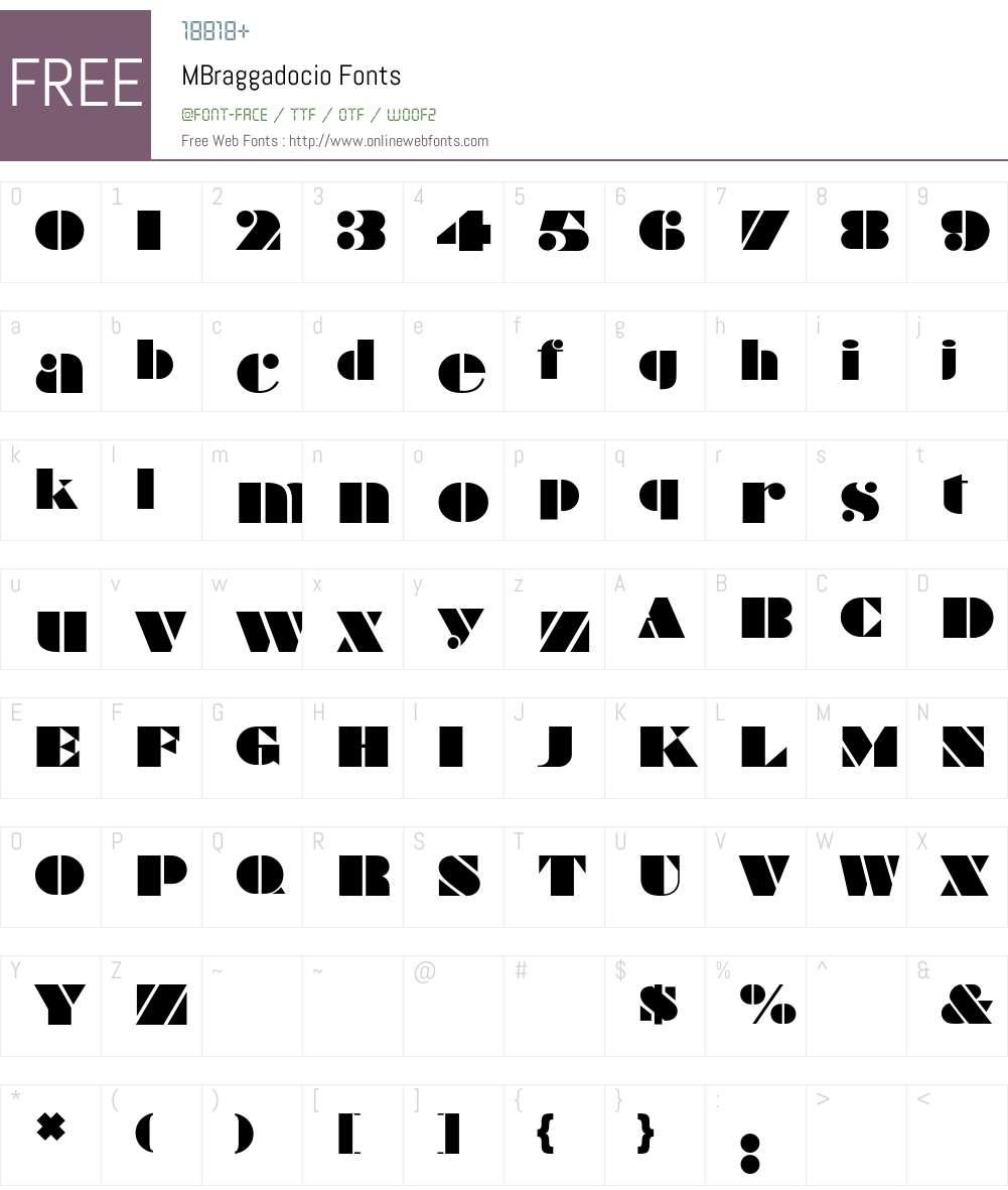 MBraggadocio Font Screenshots