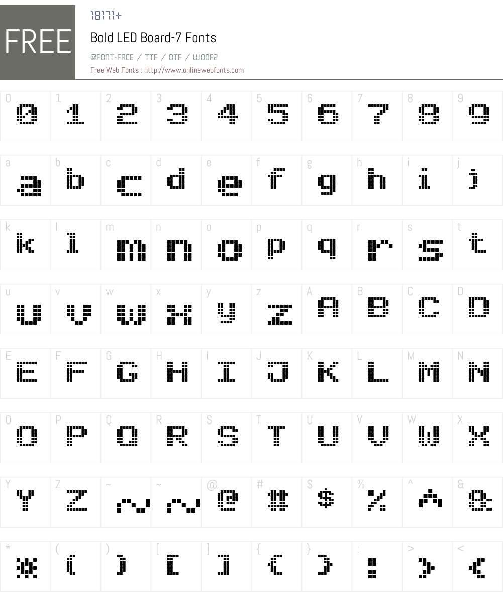Bold LED Board-7 Font Screenshots