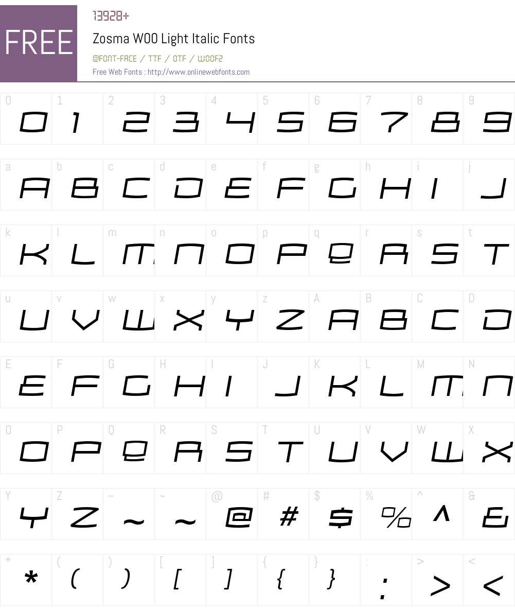 ZosmaW00-LightItalic Font Screenshots