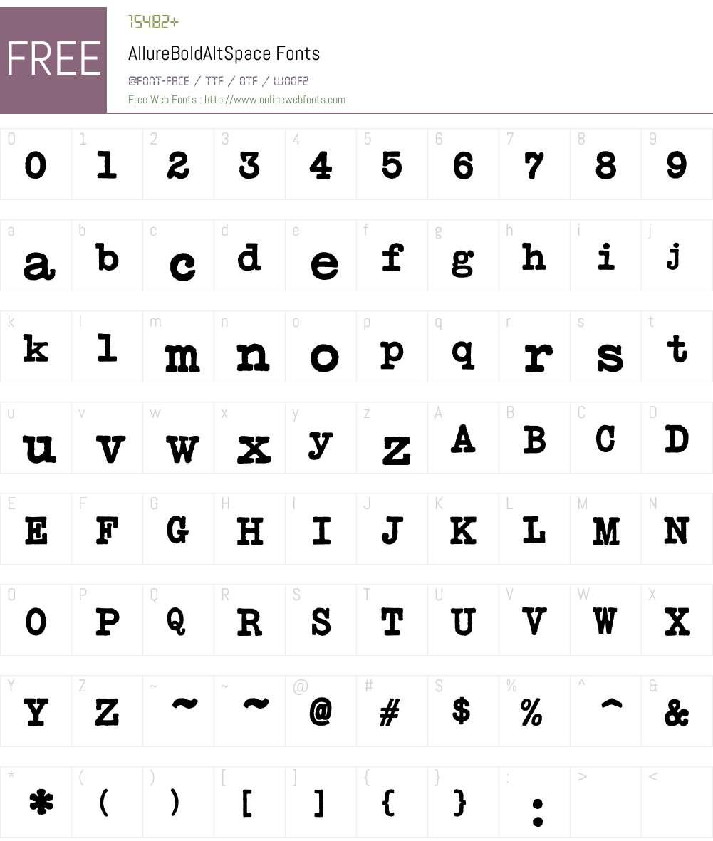 AllureBoldAltSpace Font Screenshots