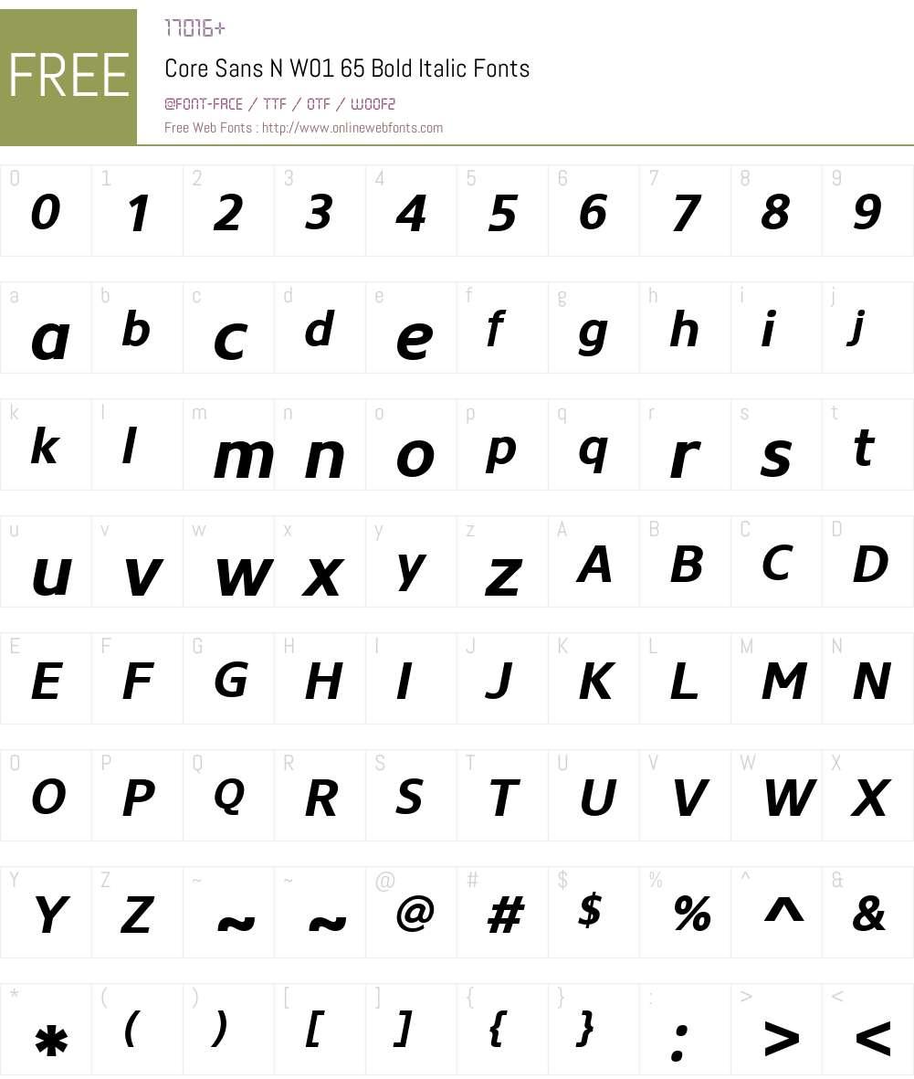 CoreSansNW01-65BoldItalic Font Screenshots