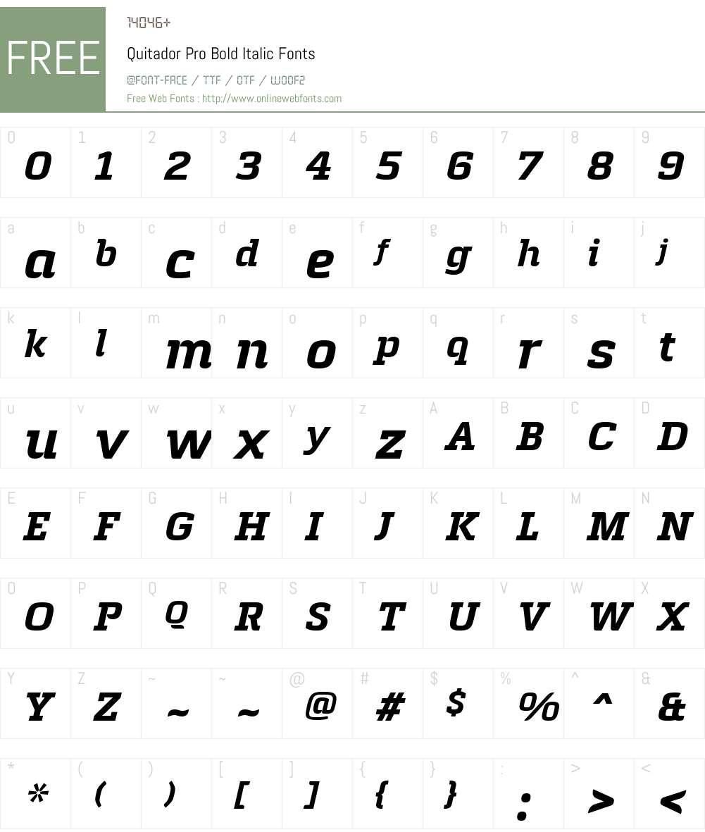 Quitador Pro Font Screenshots
