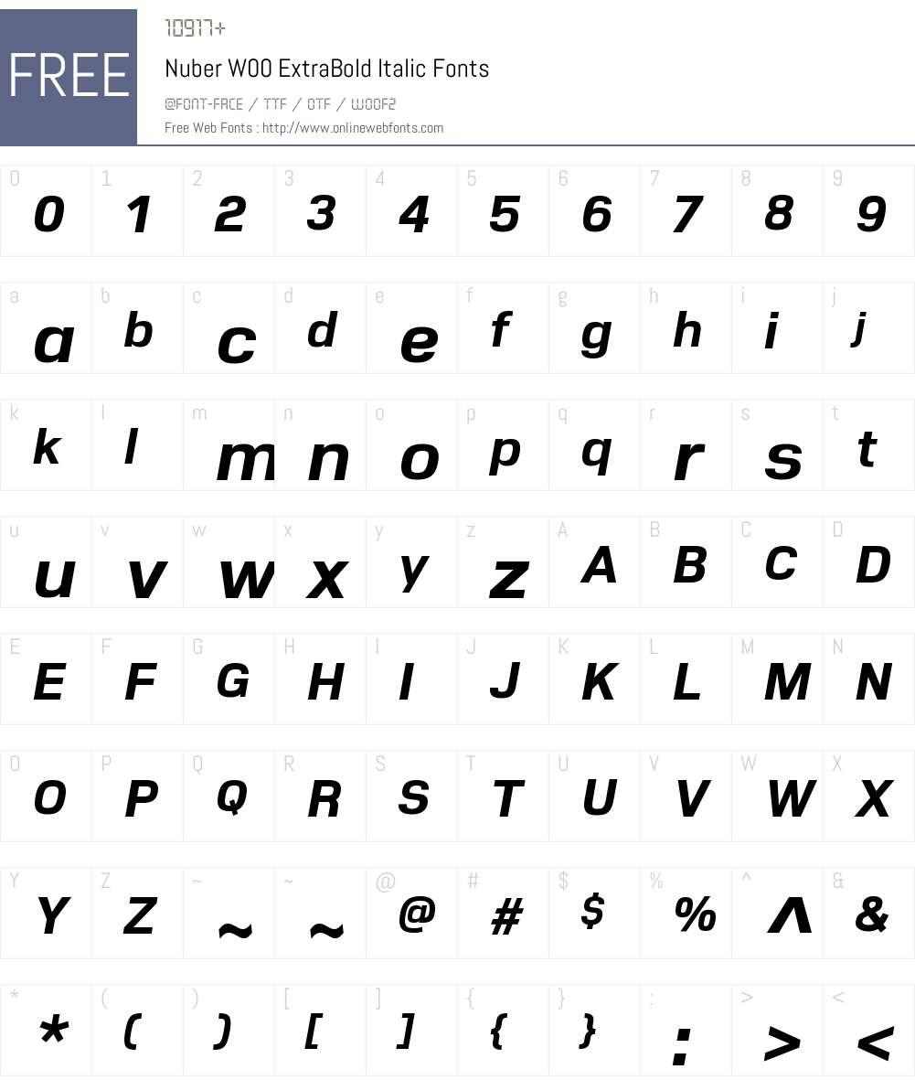 NuberW00-ExtraBoldItalic Font Screenshots
