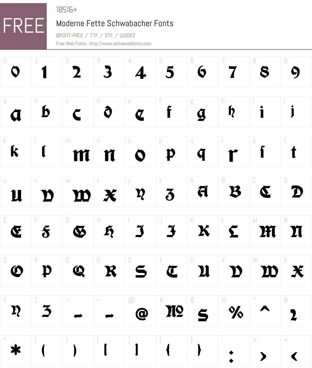 Moderne Fette Schwabacher Font Screenshots