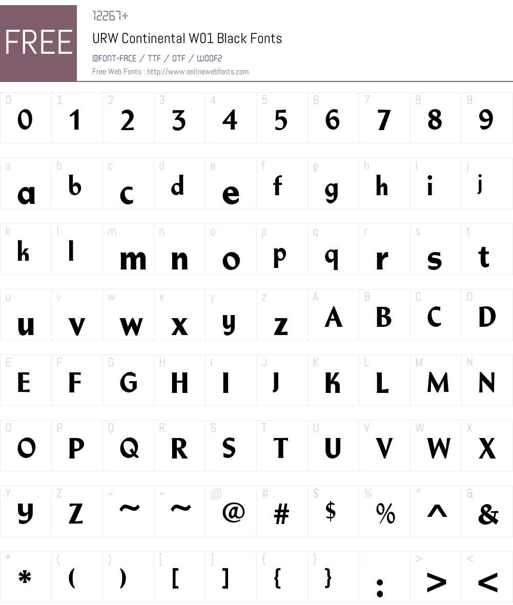 URWContinentalW01-Black Font Screenshots