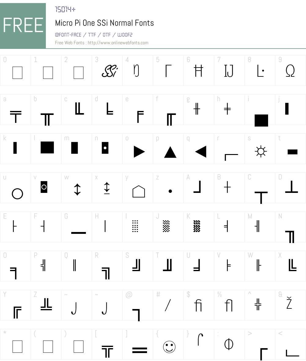 Micro Pi One SSi Font Screenshots