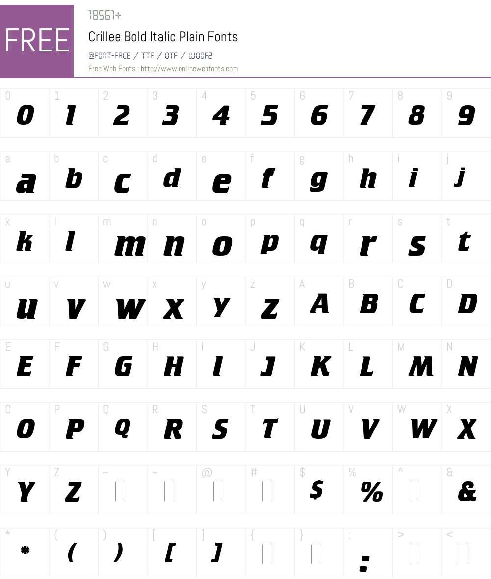 Crillee Bold Italic Font Screenshots