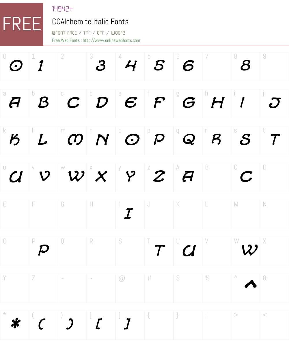 CCAlchemite-Italic Font Screenshots