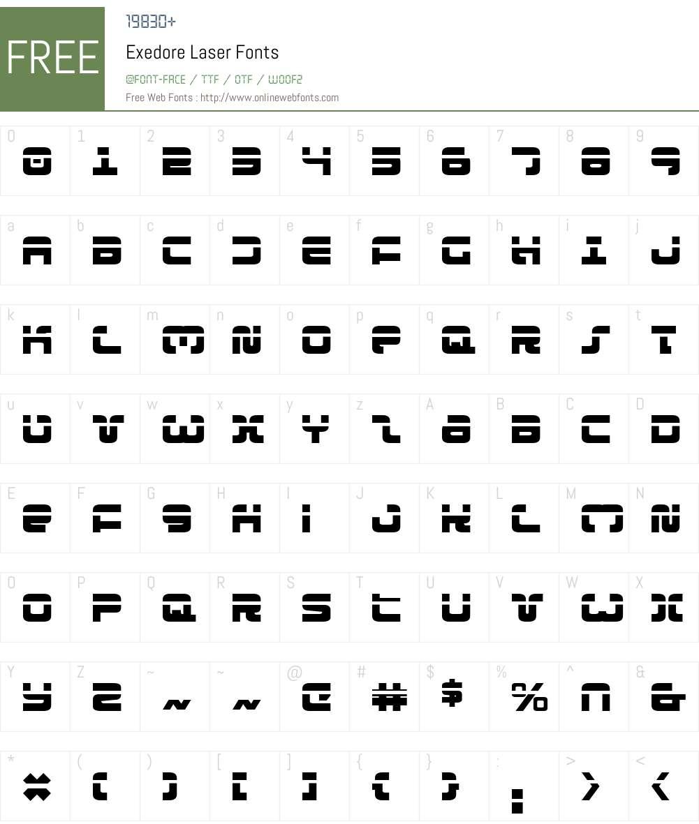 Exedore Laser Font Screenshots