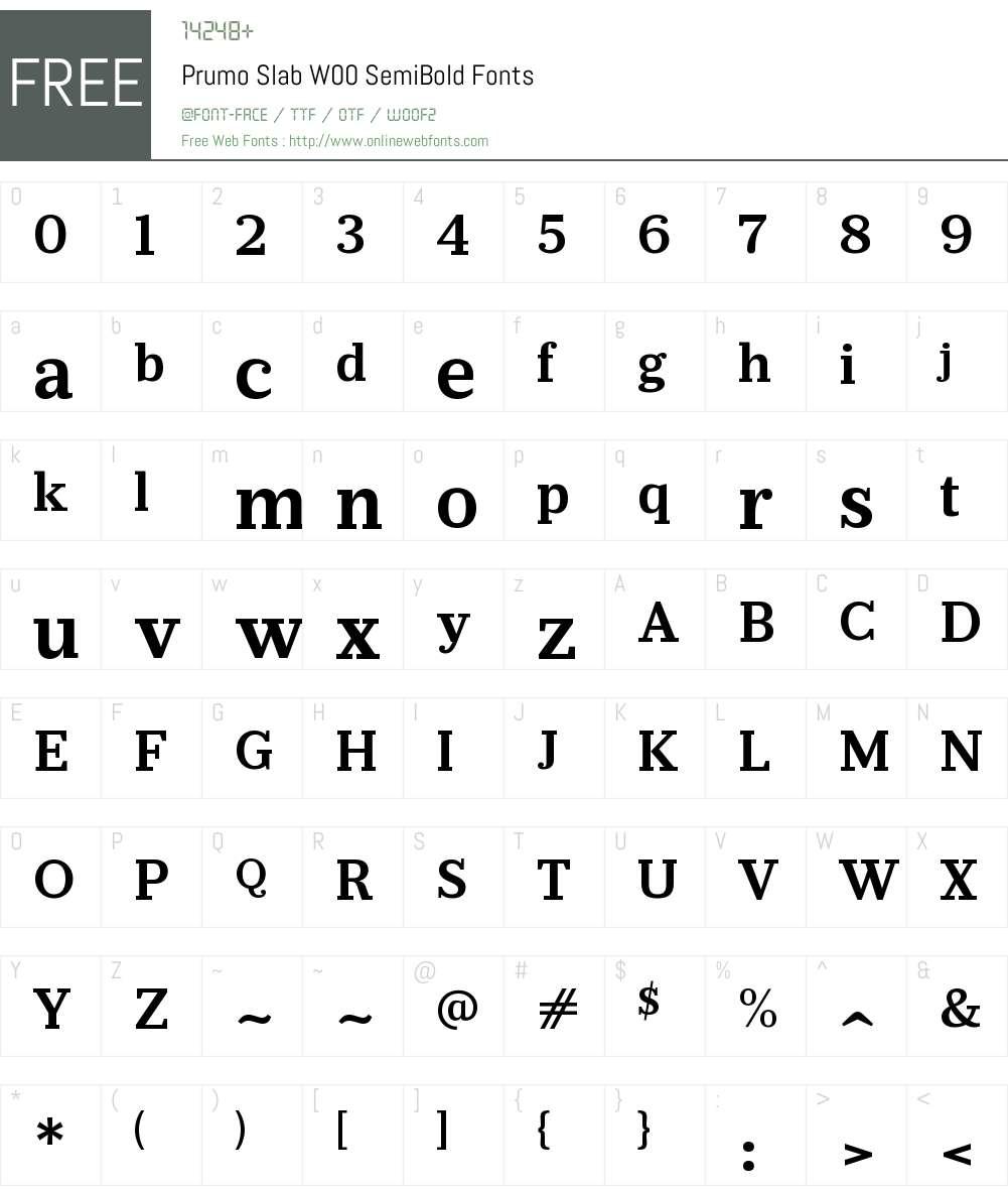 PrumoSlabW00-SemiBold Font Screenshots