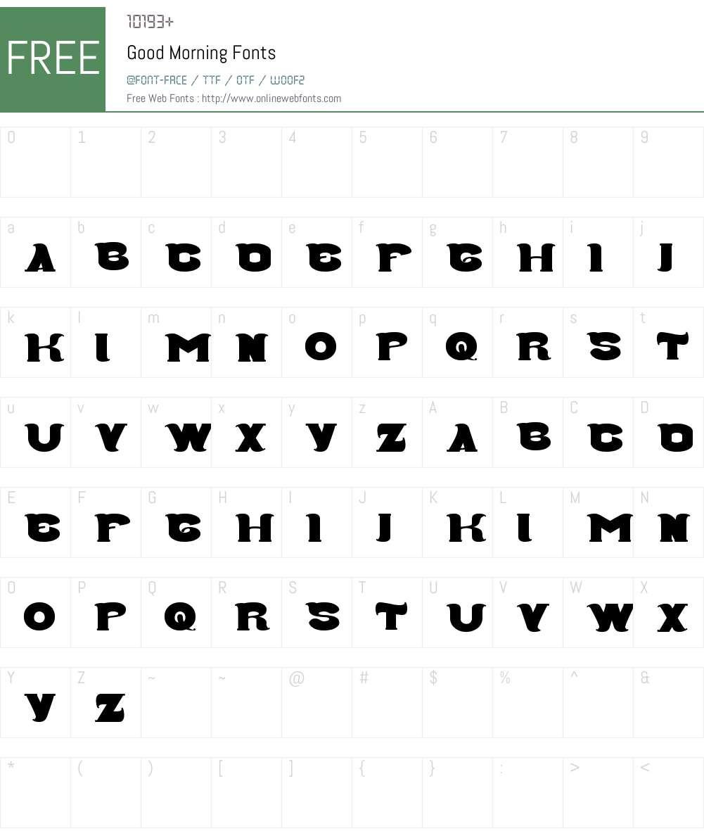 Good Morning Font Screenshots