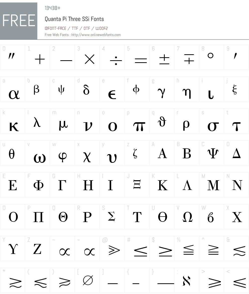 Quanta Pi Three SSi Font Screenshots