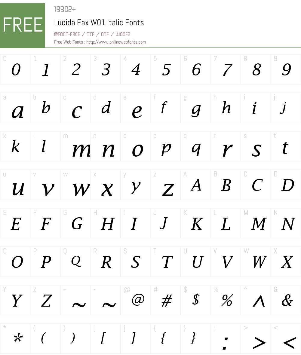 LucidaFaxW01-Italic Font Screenshots