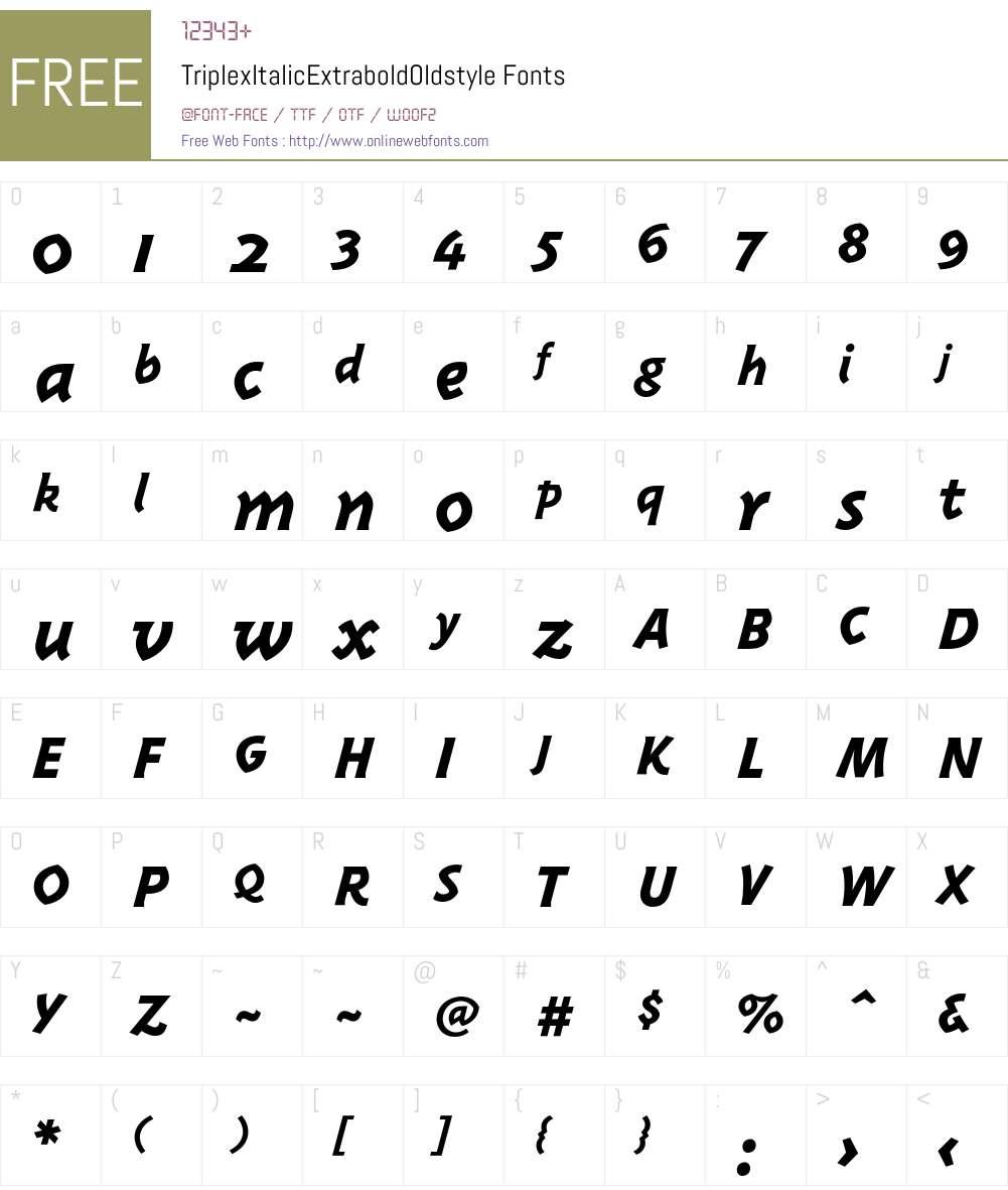 TriplexItalicExtraboldOldstyle Font Screenshots
