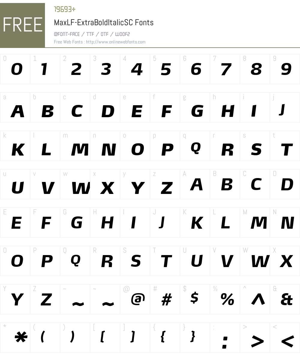 MaxLF-ExtraBoldItalicSC Font Screenshots