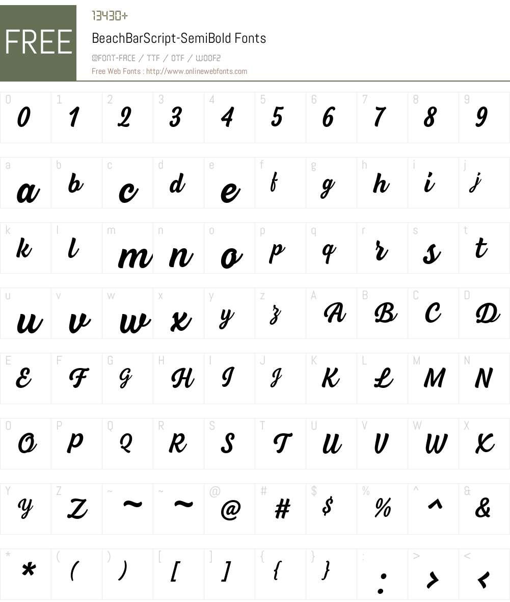 BeachBarScript-SemiBold Font Screenshots