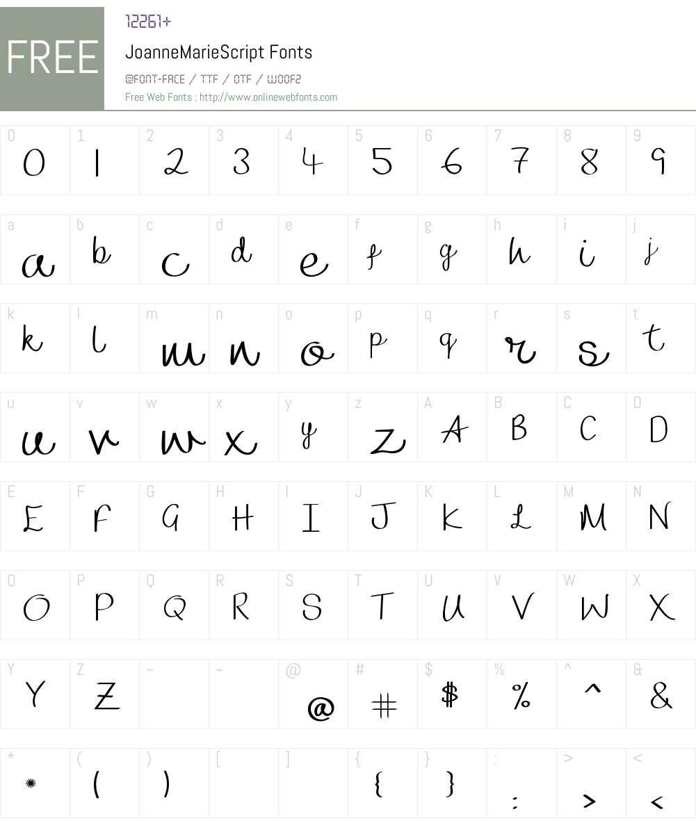 Joanne Marie Script Font Screenshots