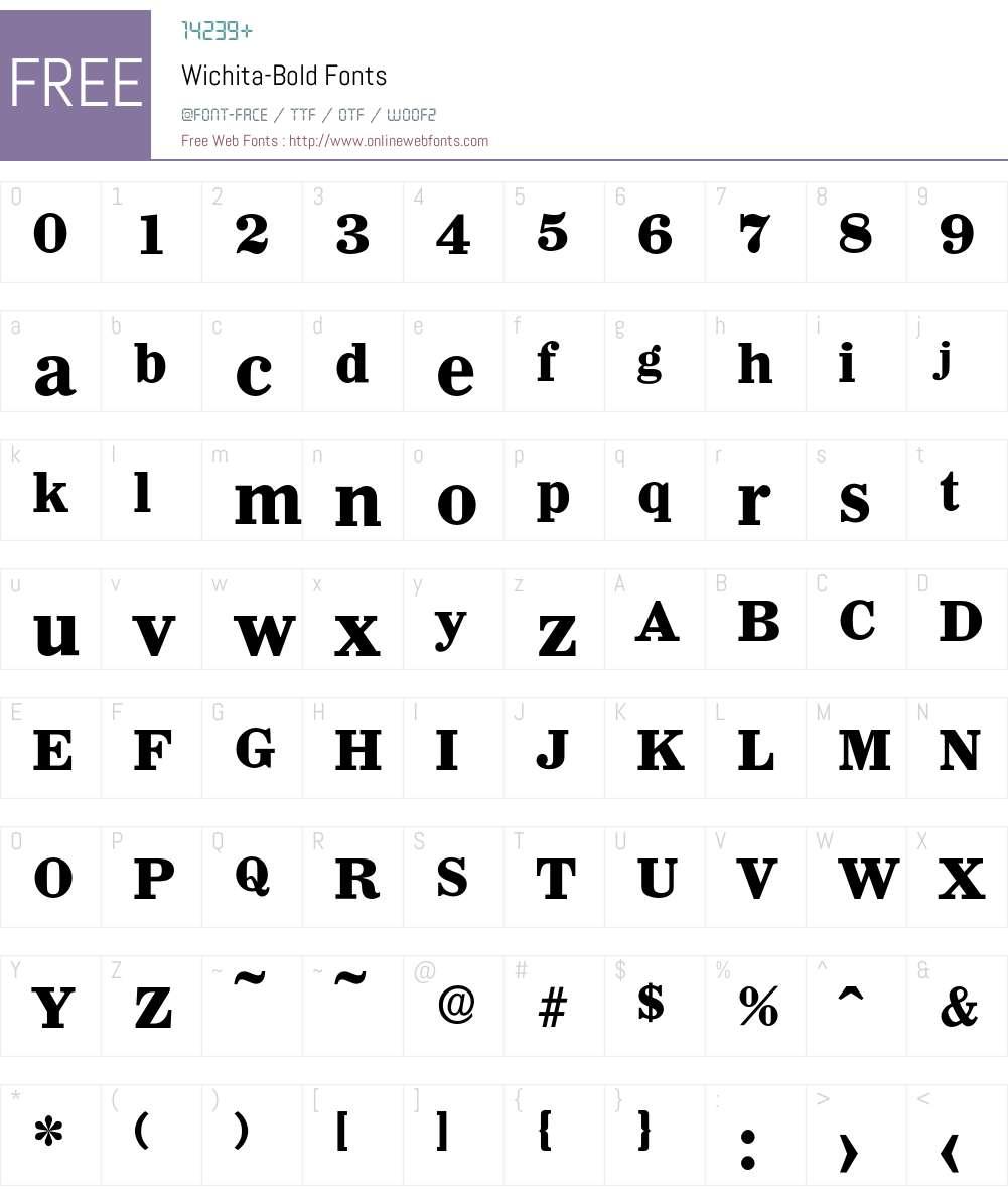 Wichita-Bold Font Screenshots