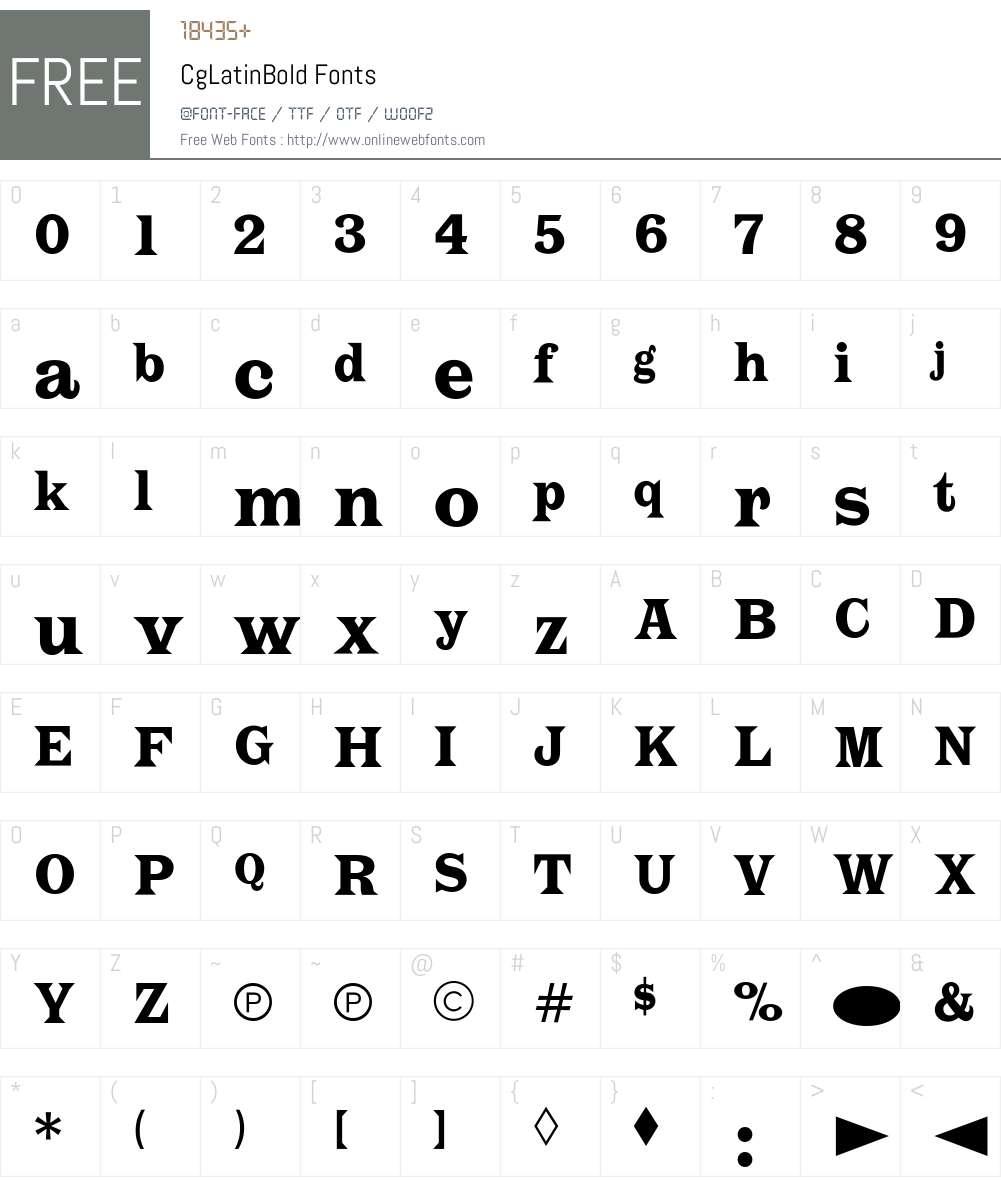 CgLatinBold Font Screenshots