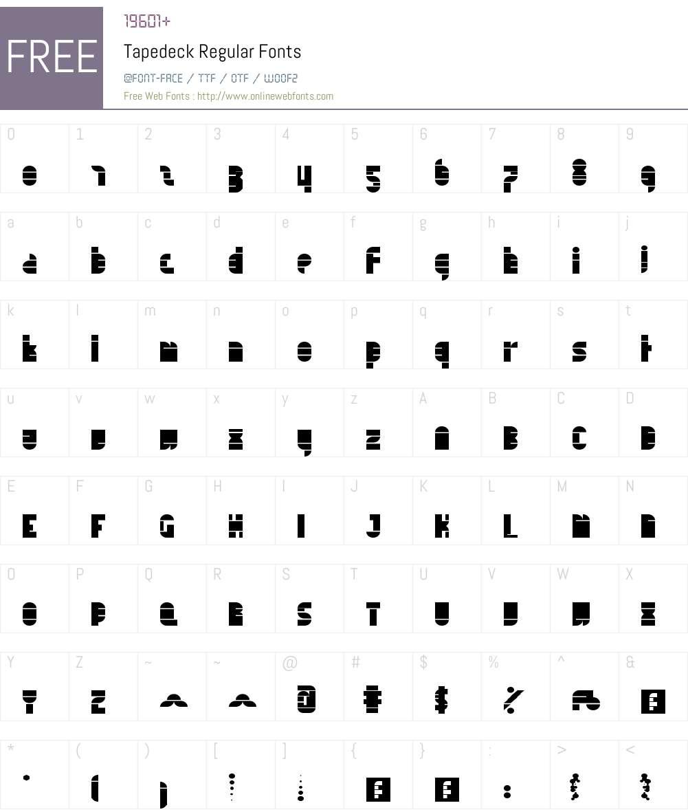 Tapedeck Font Screenshots