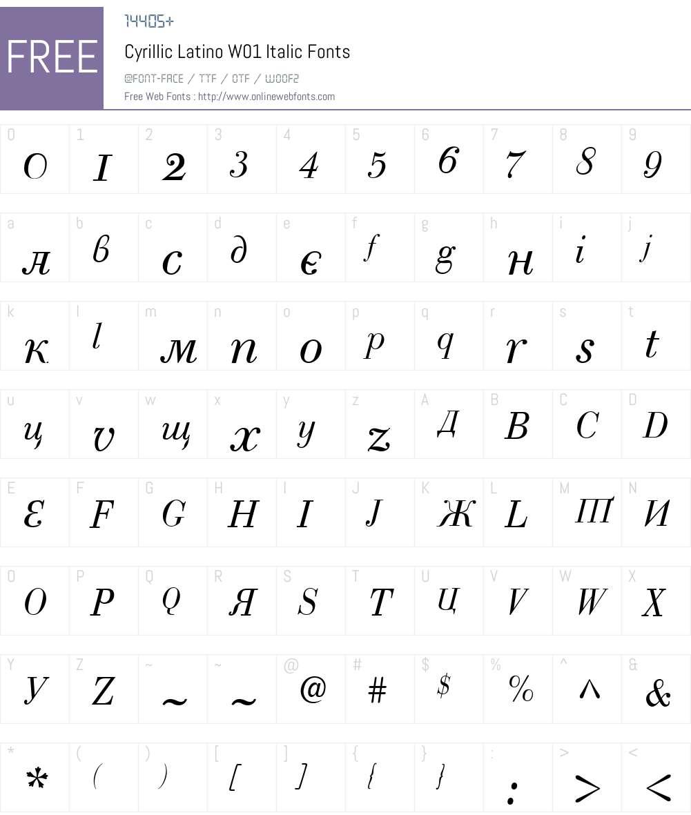 CyrillicLatinoW01-Italic Font Screenshots