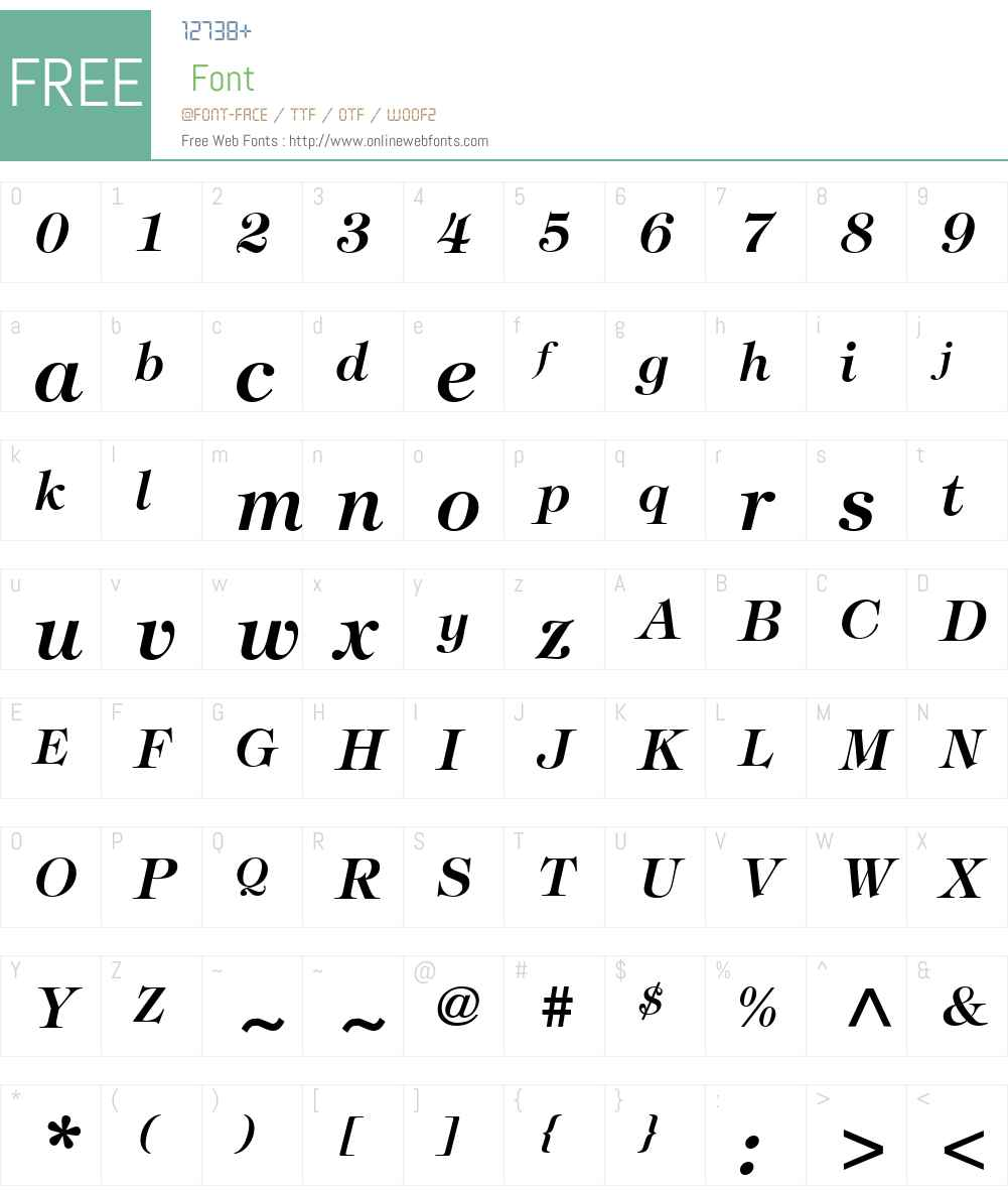 TiffanyStd-DemiItalic Font Screenshots