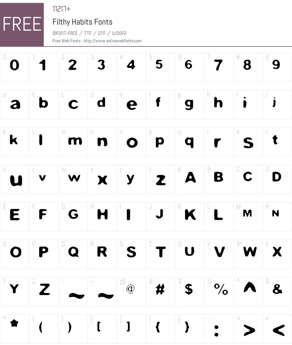 Filthy Habits Font Screenshots