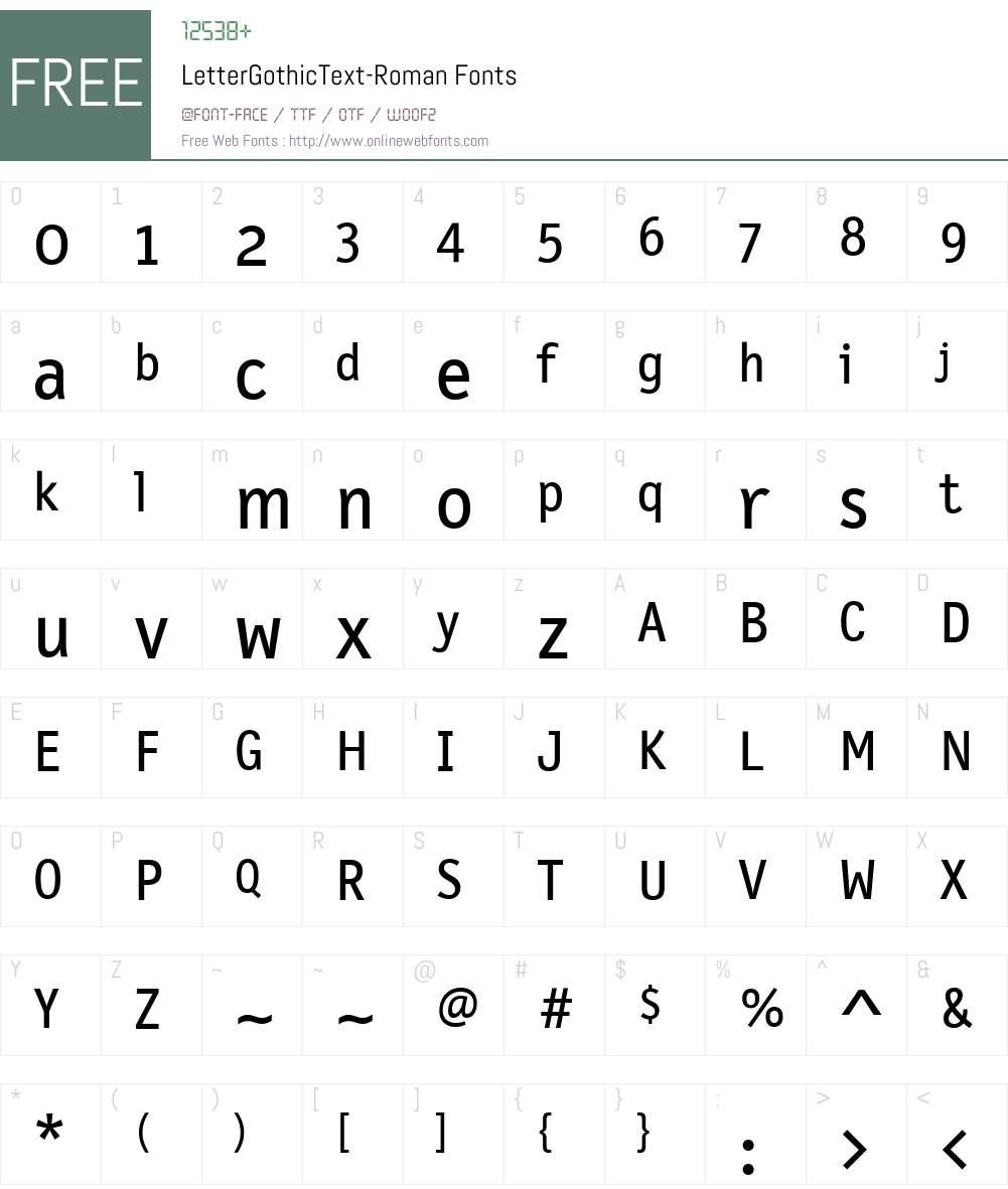 LetterGothicText Font Screenshots