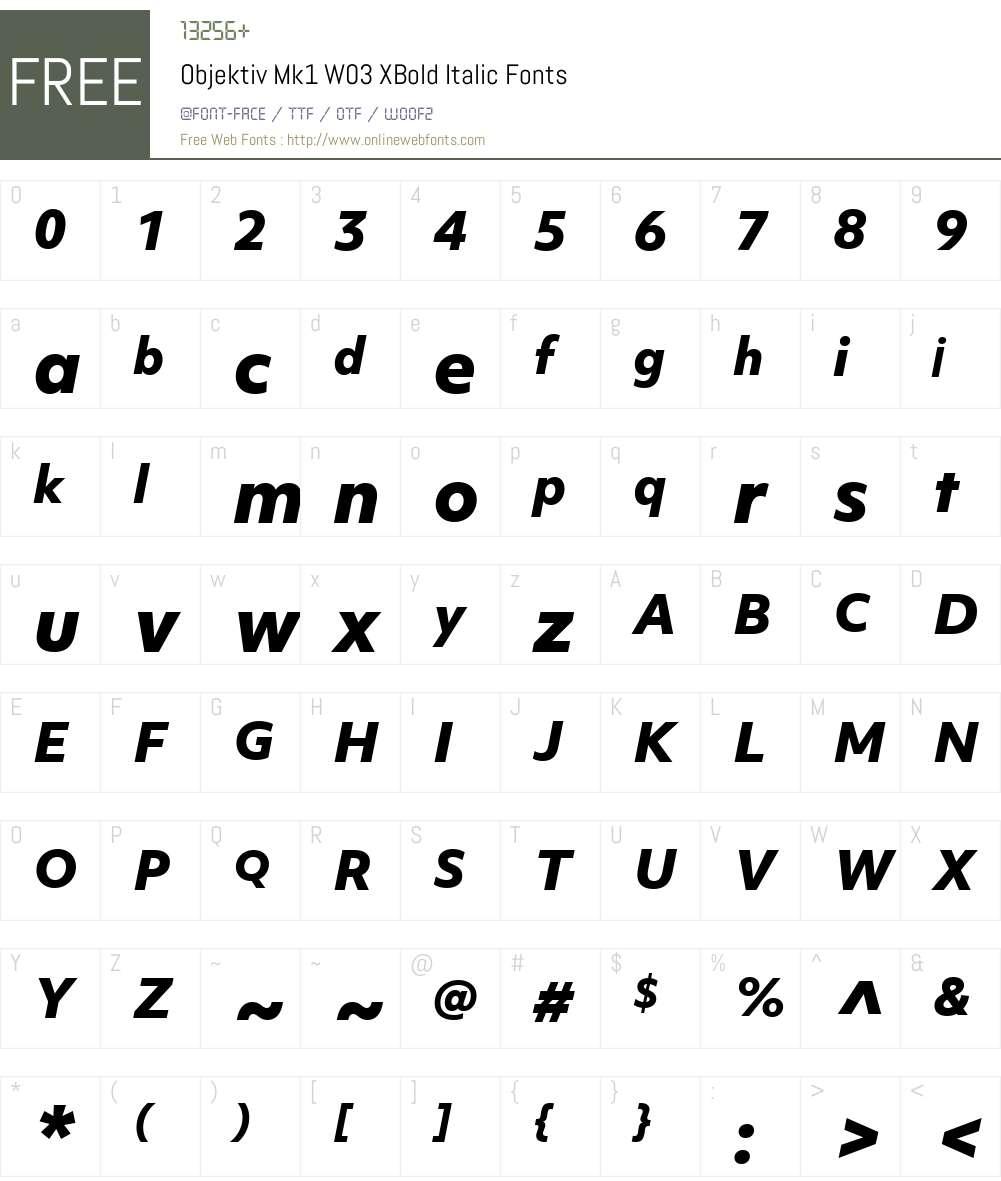 ObjektivMk1W03-XBoldItalic Font Screenshots