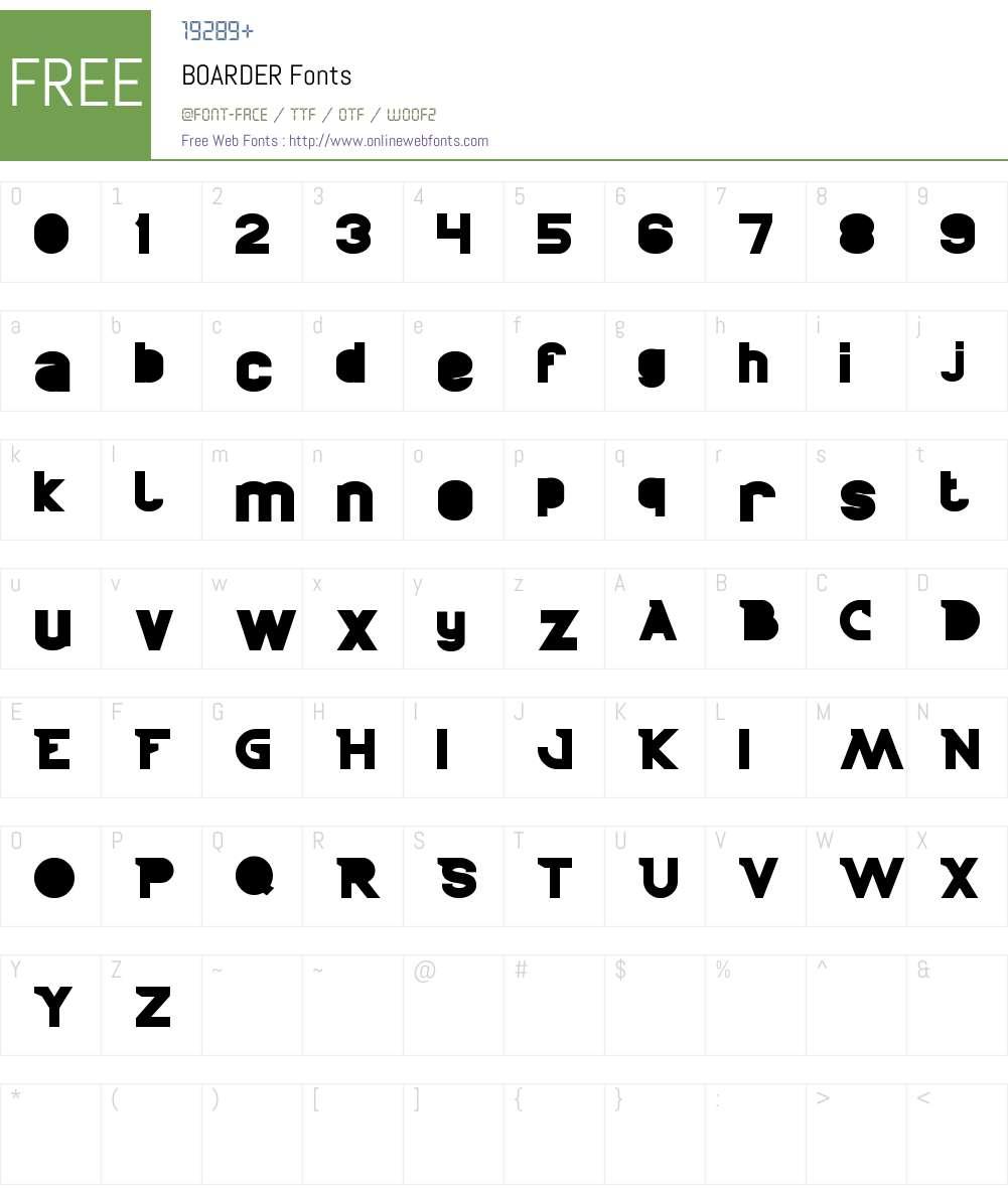 BOARDER Font Screenshots