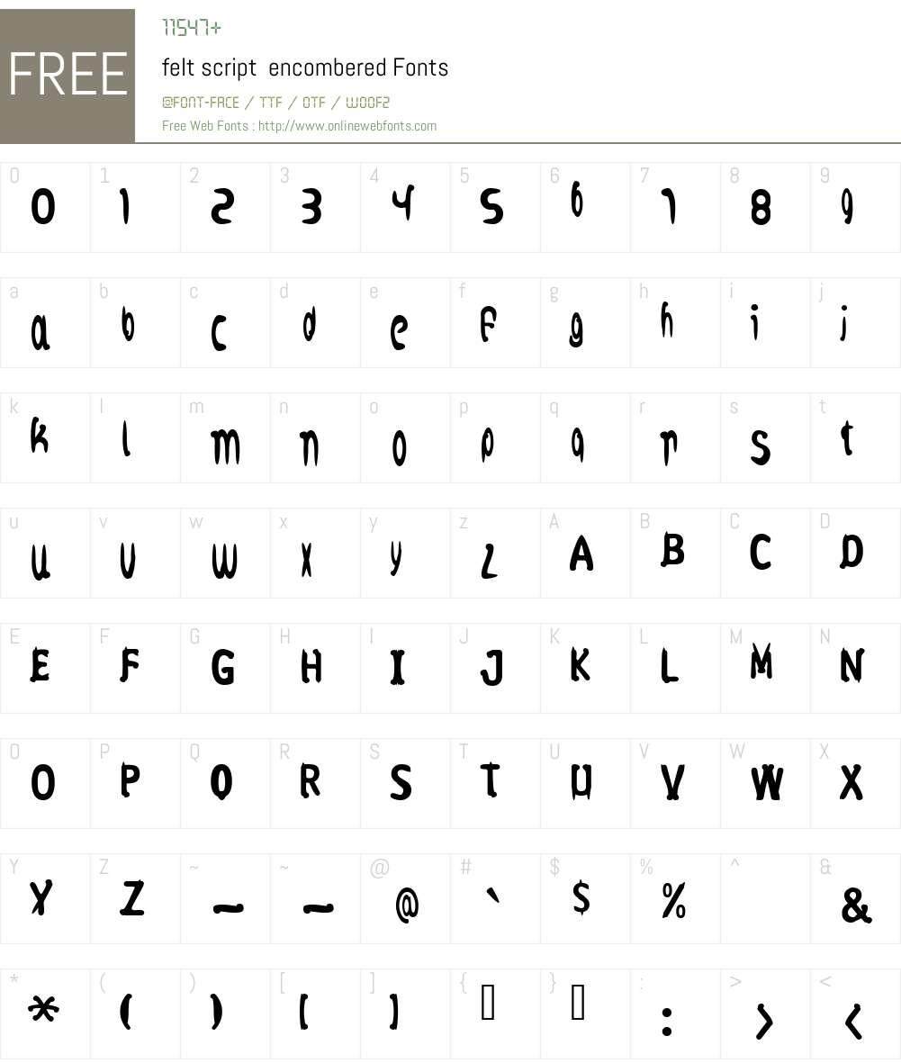 felt script Font Screenshots