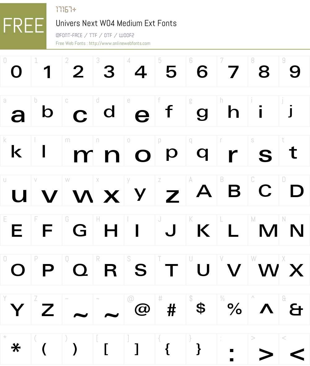 UniversNextW04-MediumExt Font Screenshots
