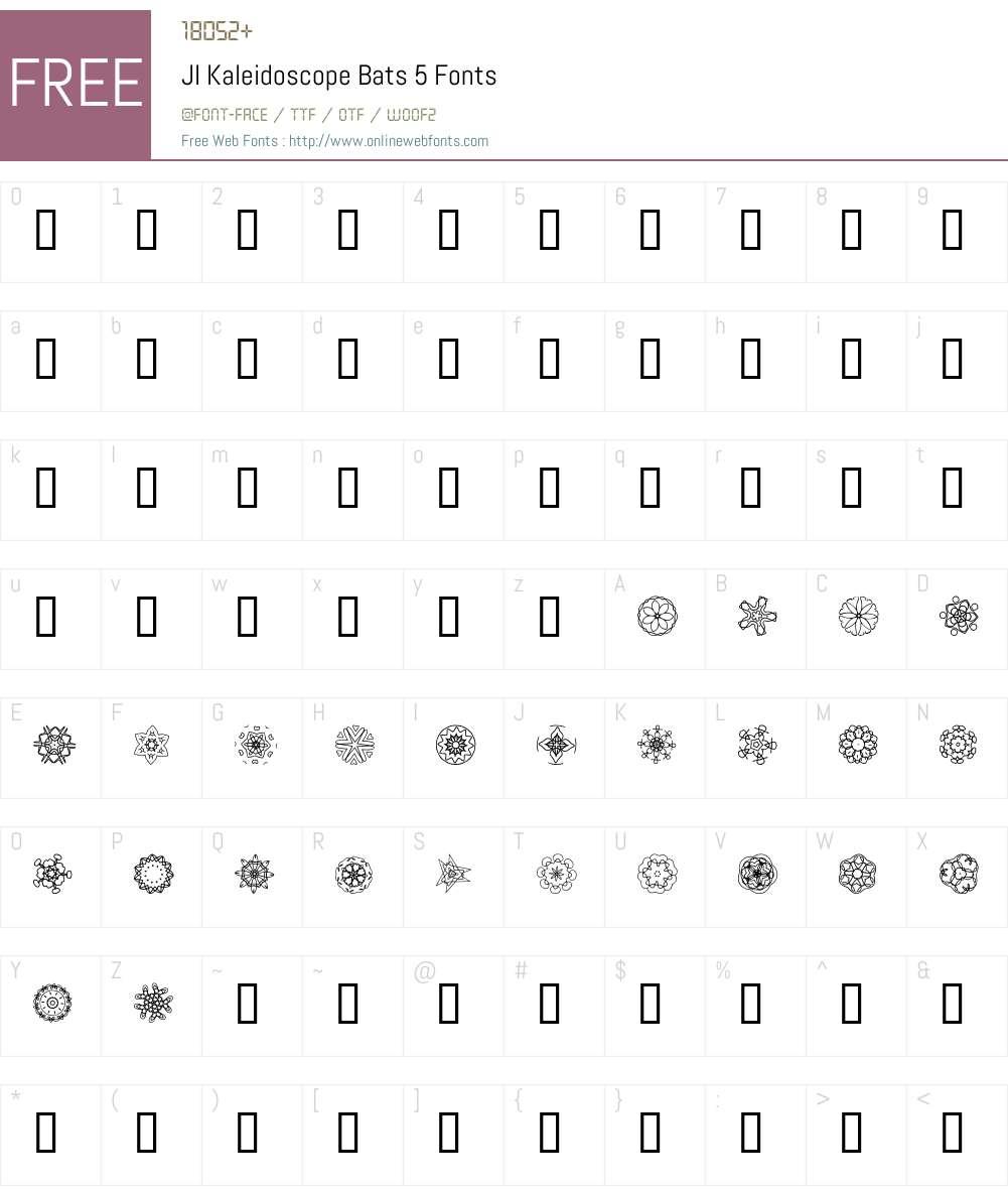 JI Kaleidoscope Bats 5 Font Screenshots
