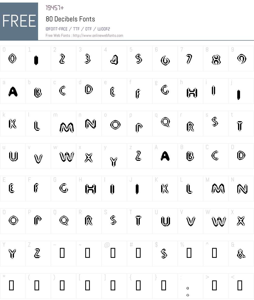 80 Decibels Font Screenshots