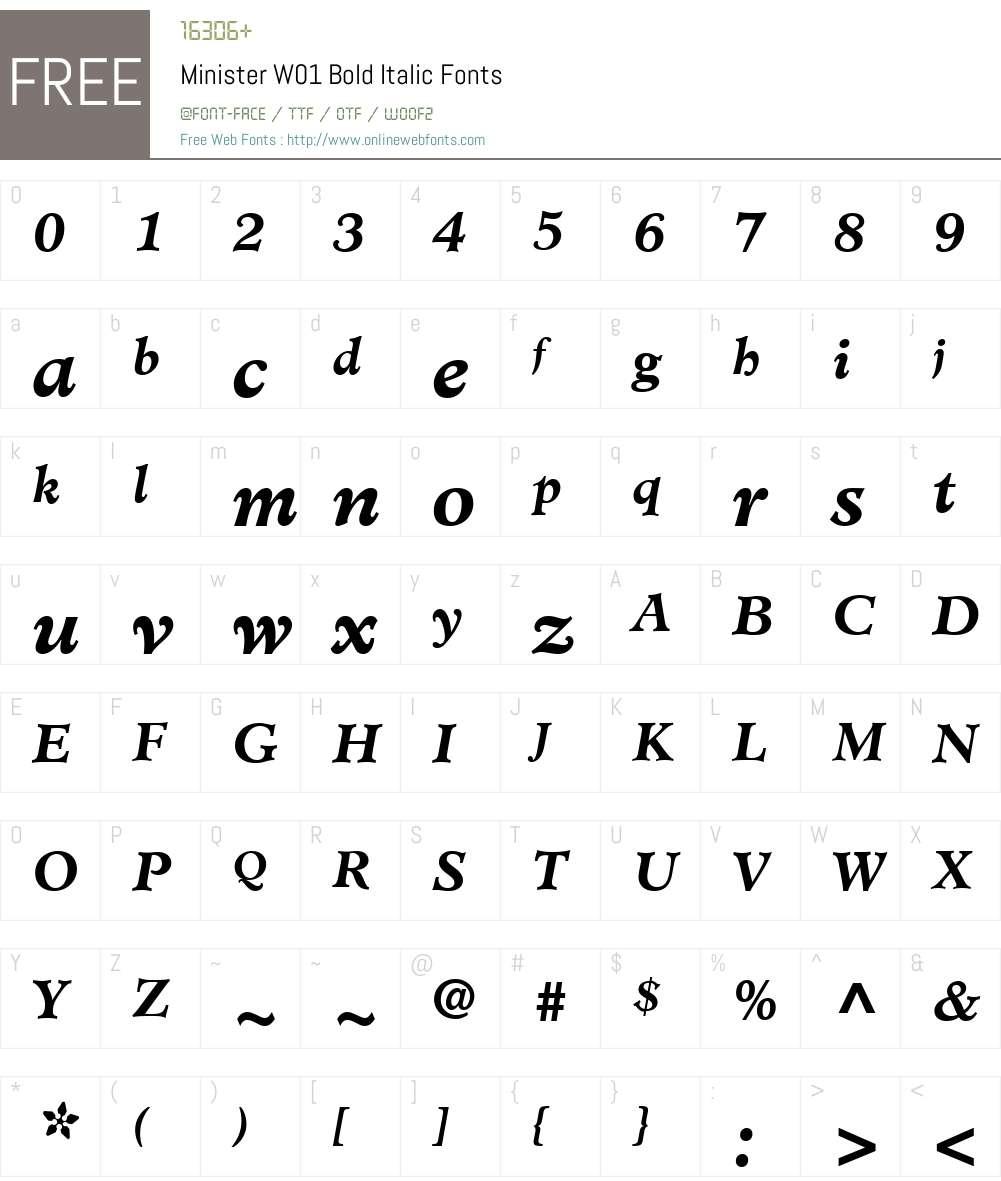 MinisterW01-BoldItalic Font Screenshots