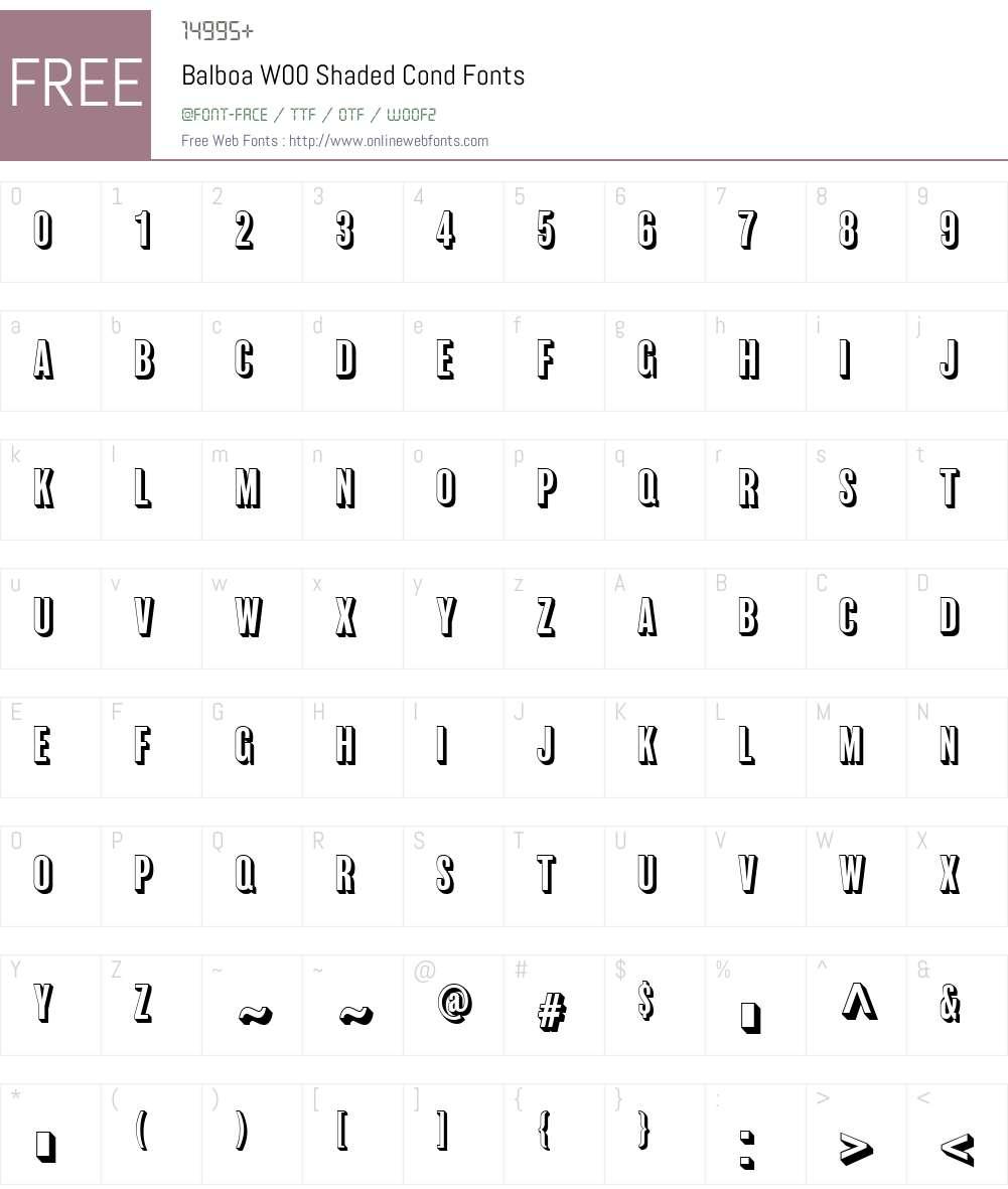 BalboaW00-ShadedCond Font Screenshots