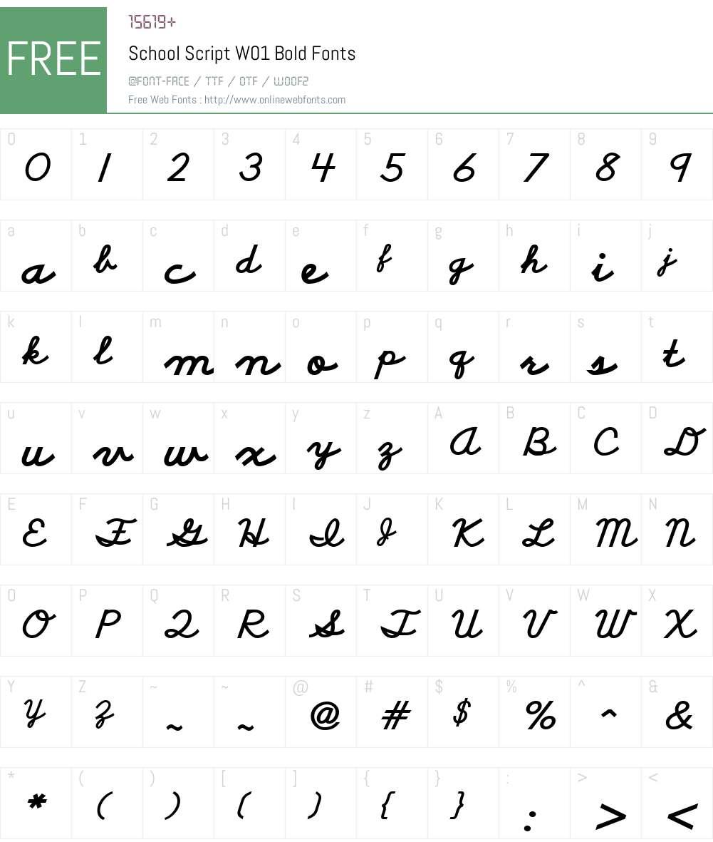 SchoolScriptW01-Bold Font Screenshots