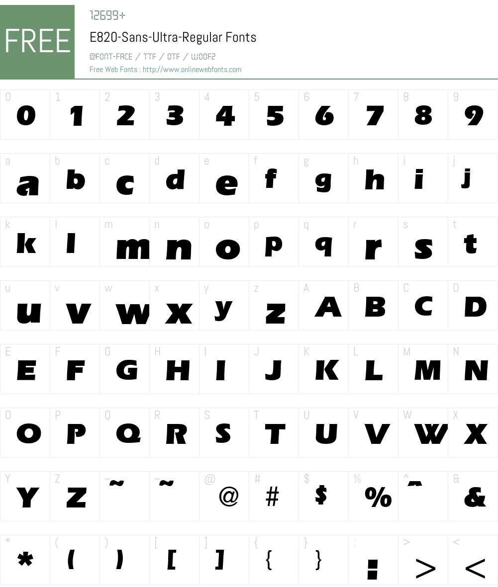 E820-Sans-Ultra Font Screenshots