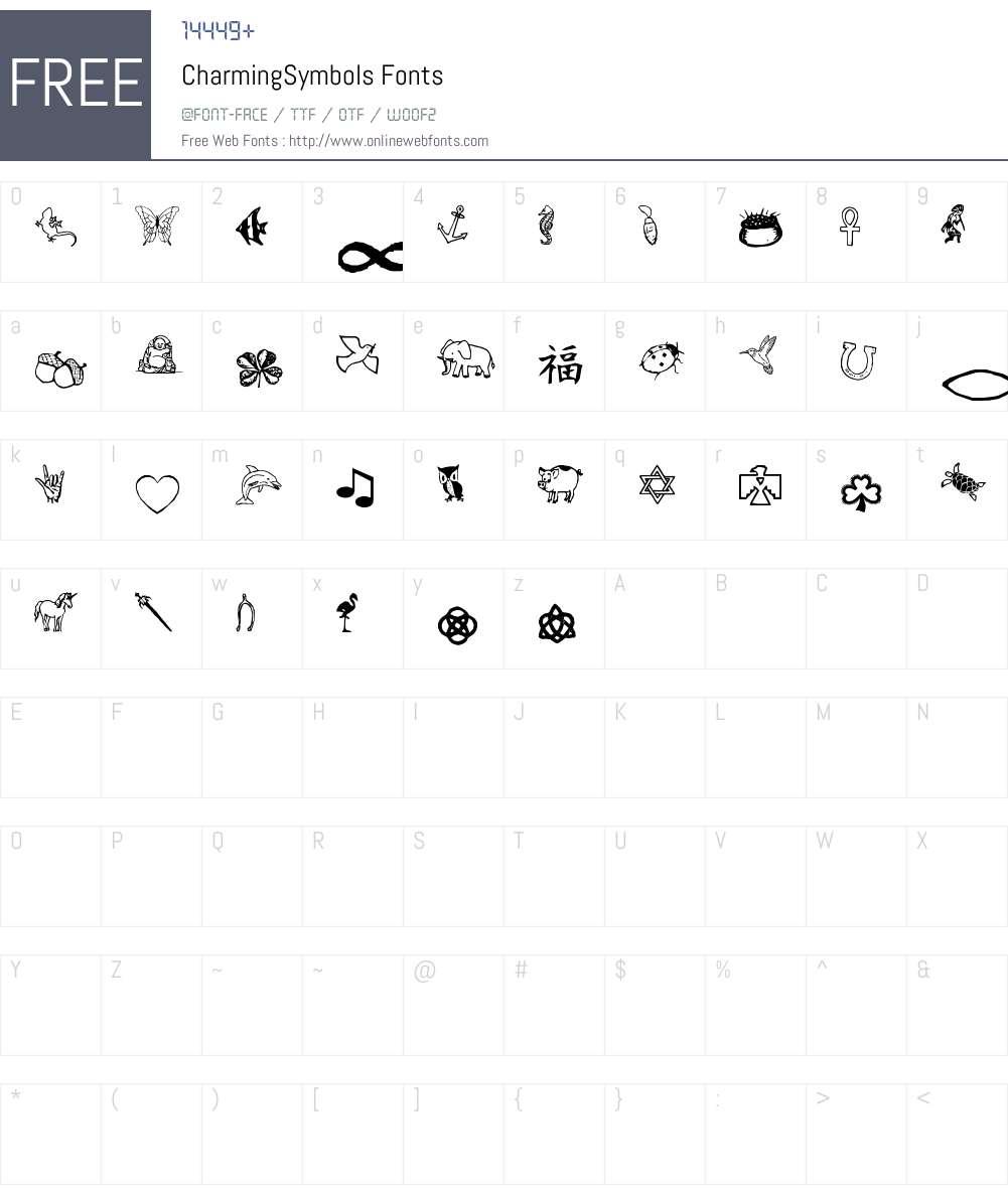 CharmingSymbols Font Screenshots