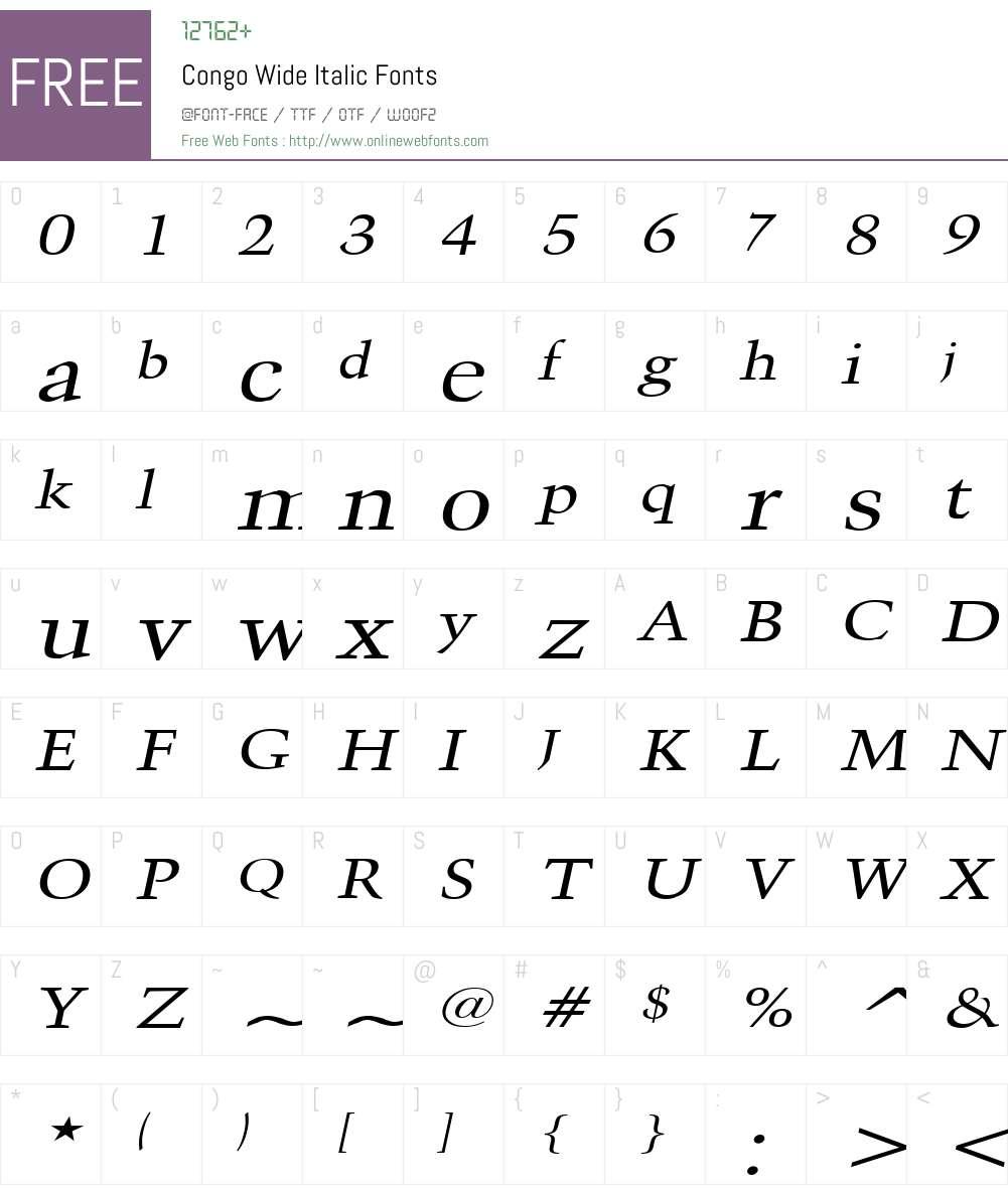 Congo Wide Font Screenshots
