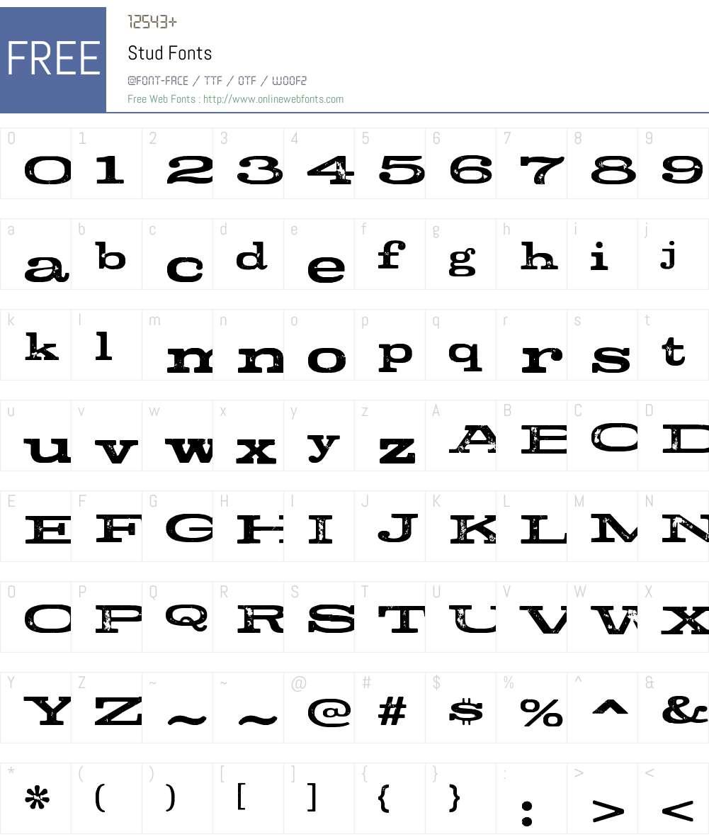 Stud Font Screenshots