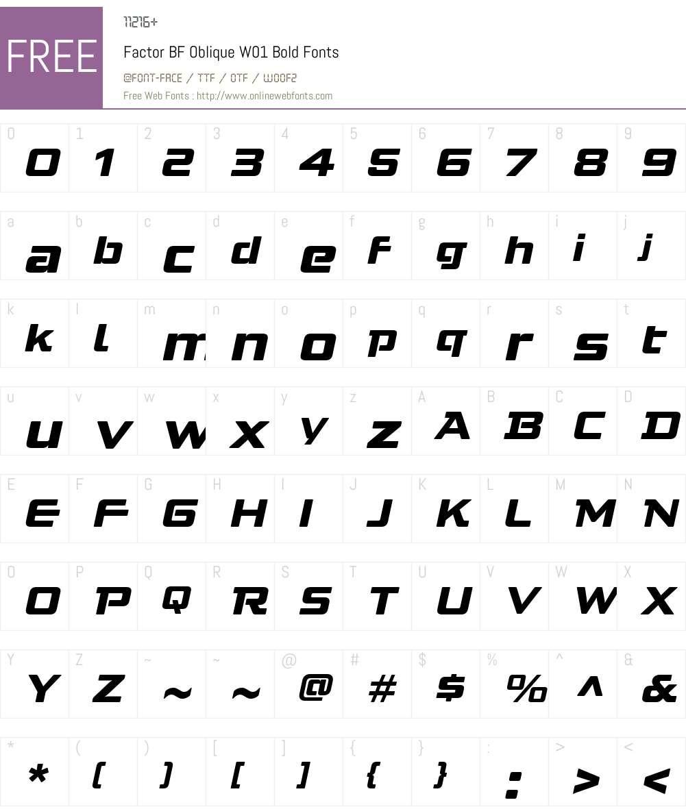 FactorBFObliqueW01-Bold Font Screenshots