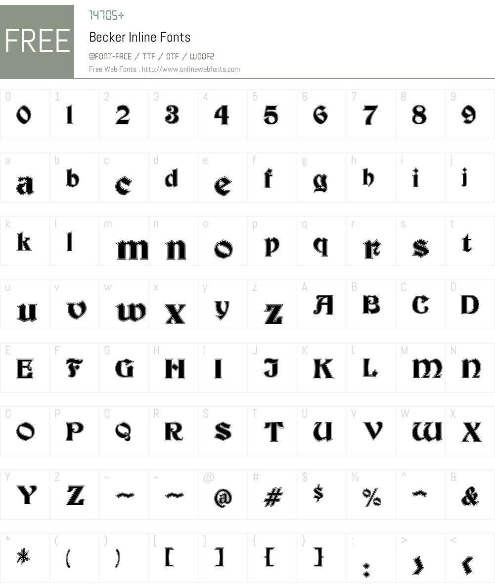 Becker Inline Font Screenshots