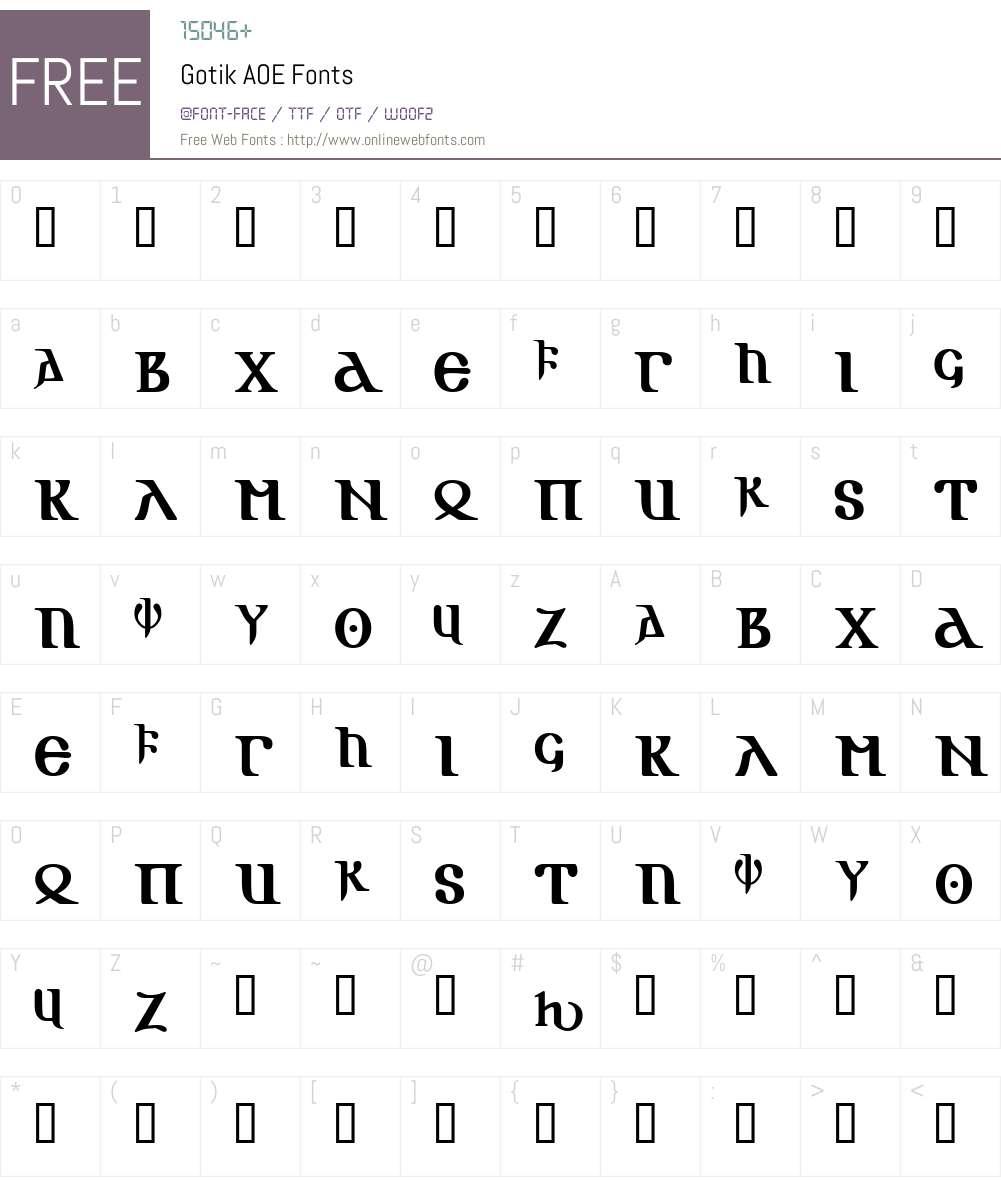 Gotik AOE Font Screenshots