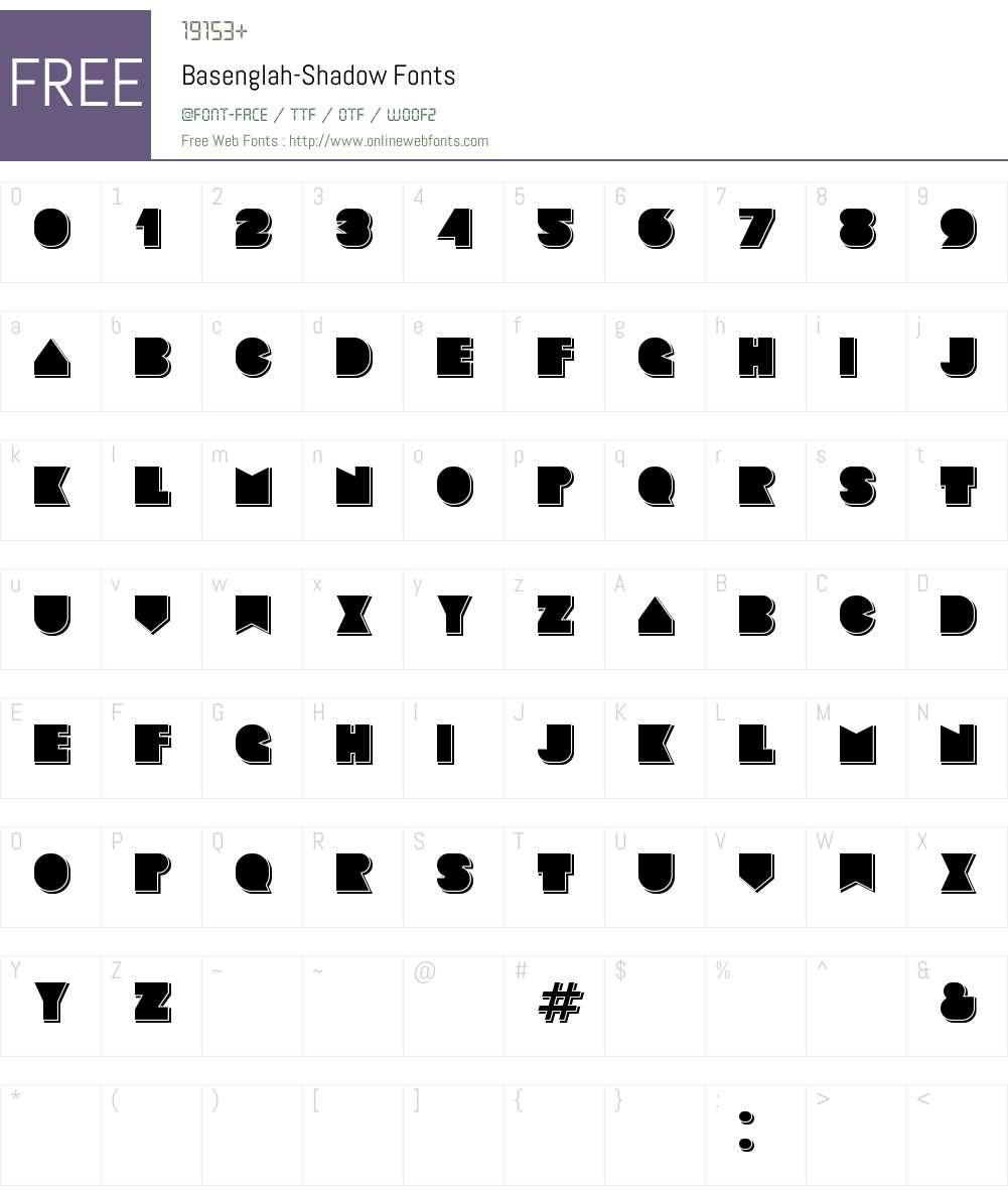 Basenglah Shadow Font Screenshots