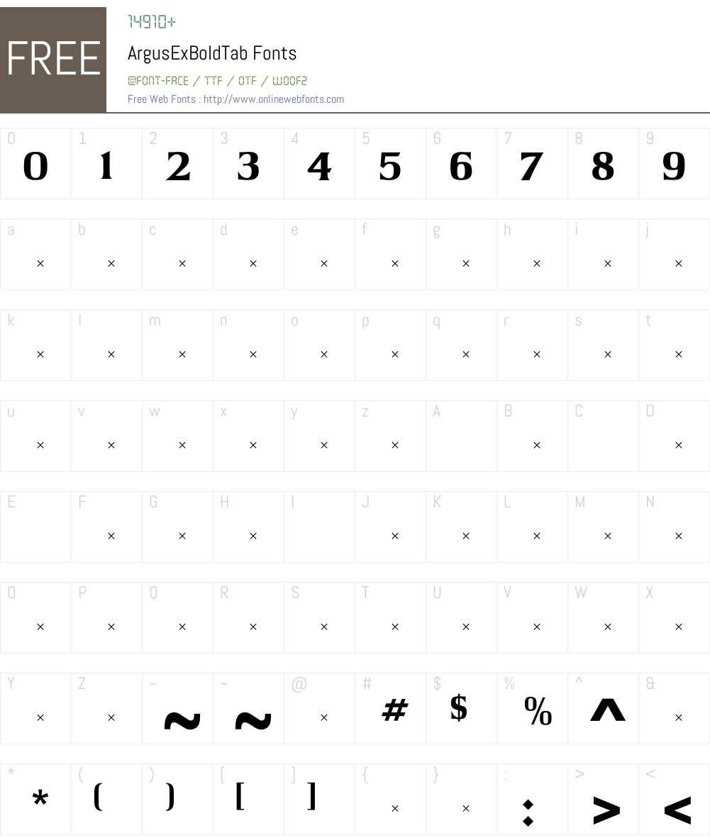 ArgusExBoldTab Font Screenshots