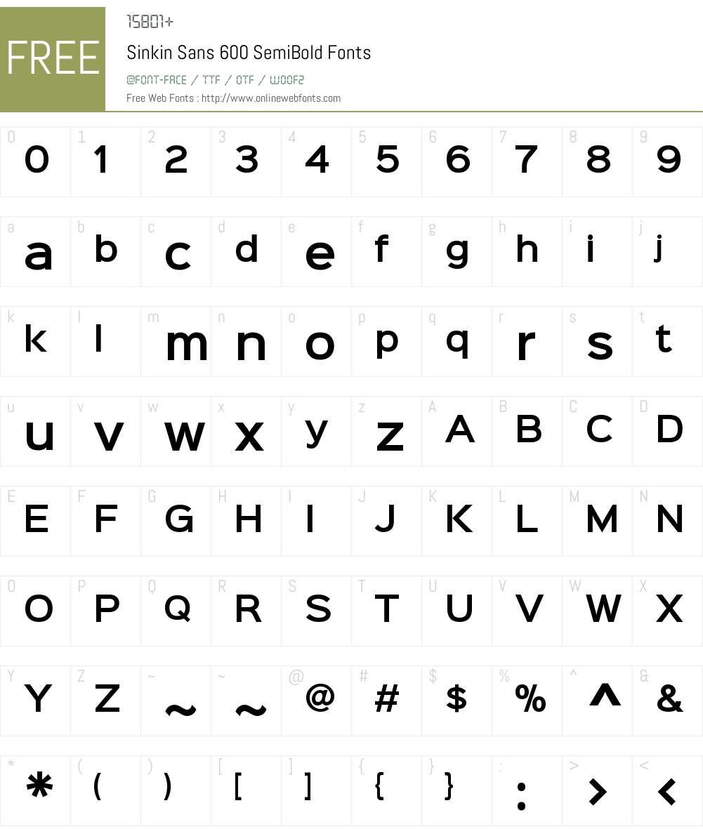 Sinkin Sans 600 SemiBold Font Screenshots