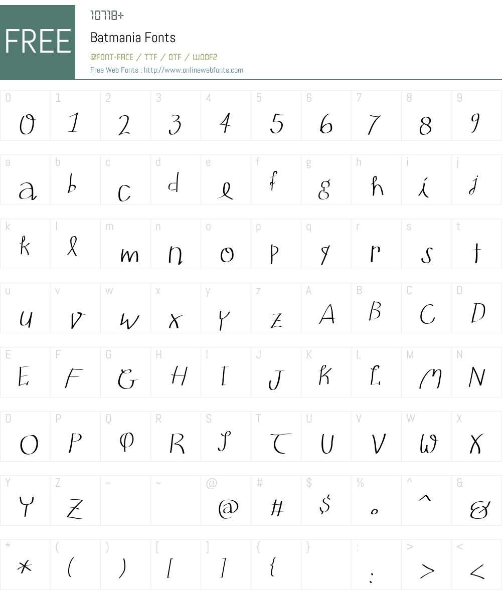 Batmania Font Screenshots